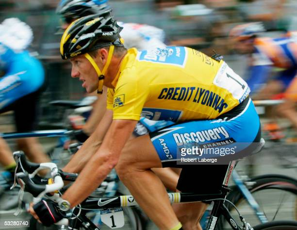 Lance Armstrong of the USA riding for the Discovery Channel rides next to the Arc de Triomphe on his way to winning a seventh consecutive Tour de...
