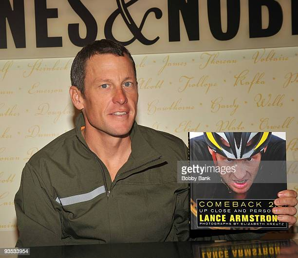 Lance Armstrong promotes 'Comeback 20 Up Close and Personal' at Barnes Noble Lincoln Triangle on December 1 2009 in New York City
