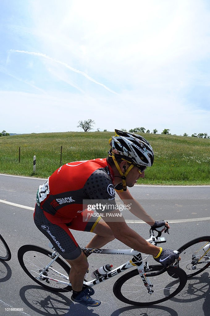 US Lance Armstrong rides during the 'Tour of Luxembourg' last stage on June 6, 2010 between Mersch and Luxembourg. Spain's Gorka Izaguirre won the stage as Matteo Carrara won the race ahead of Luxembourg's Franck Schleck and Lance Armstrong.