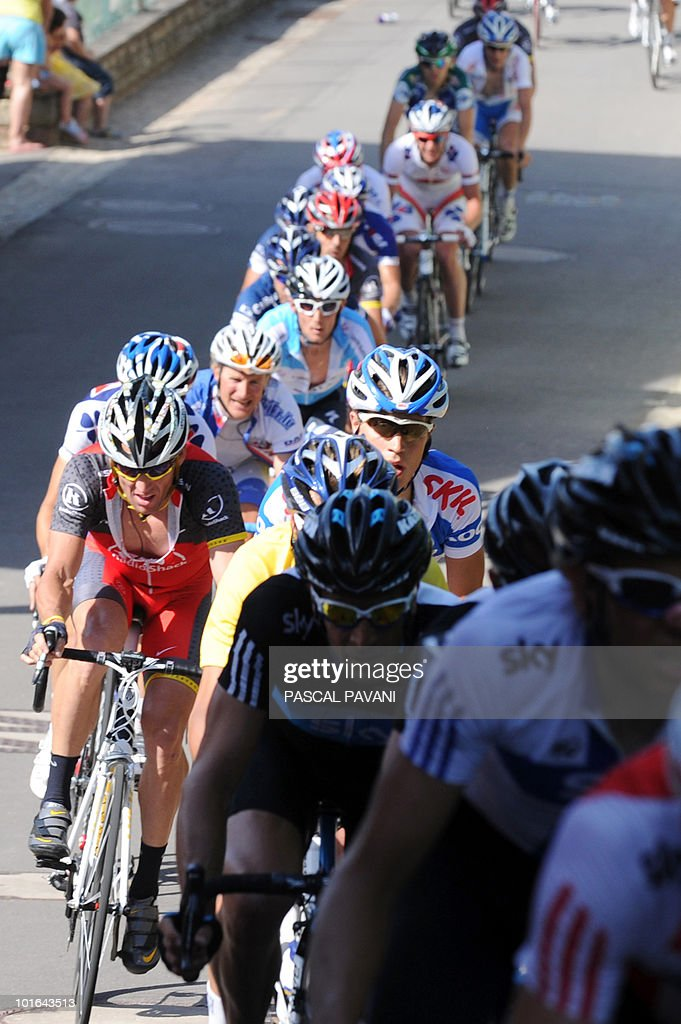 US Lance Armstrong (L) rides in the pack during the 'Tour du Luxembourg' cycling race third stage on June 5, 2010 between Eschweiler and Diekirch. France's Tony Gallopin won the stage.