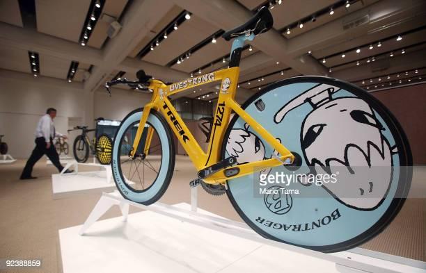 Lance Armstrong Trek bike custom painted by artist Yoshitomo Nara is displayed at Sotheby�s October 27, 2009 in New York City. Seven Trek bikes used...