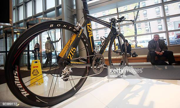 Lance Armstrong Trek bike, famously stolen in California in February and quickly recovered, is seen at Sotheby�s October 27, 2009 in New York City....