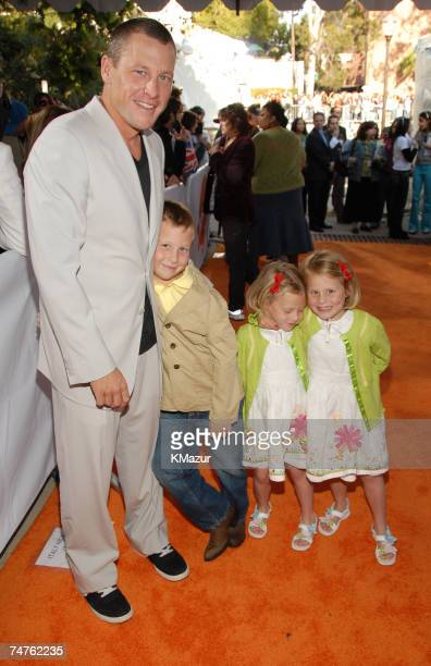 Lance Armstrong with children Luke Armstrong Isabelle Armstrong and Grace Armstrong at the Pauley Pavilion in Westwood California
