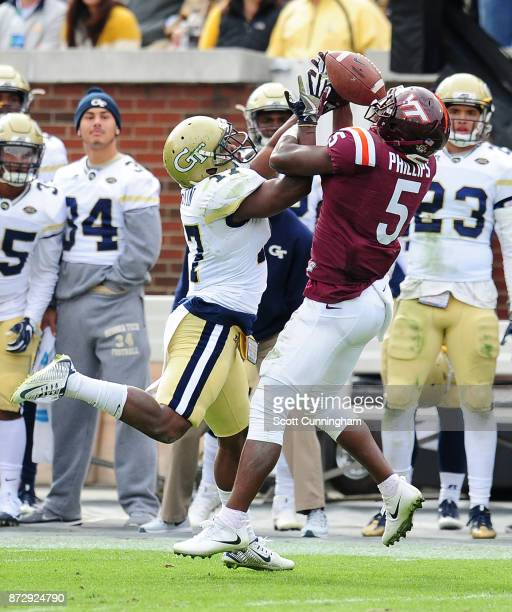 Lance Austin of the Georgia Tech Yellow Jackets defends a pass against Cam Phillips of the Virginia Tech Hokies on November 11 2017 at Bobby Dodd...