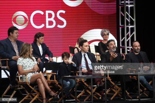 Lance Barber Montana Jordan Raegan Revord Annie Potts Zoe Perry Iain Armitage Jim Parsons Chuck Lorre and Steven Molaro attend the 2017 Summer TCA...