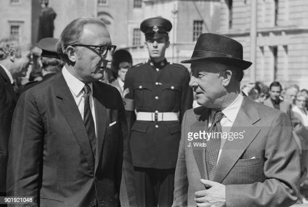 Lance Barnard the Australian Minister of Defence is met by Lord Carrington the British Secretary of State for Defence upon his arrival at the...