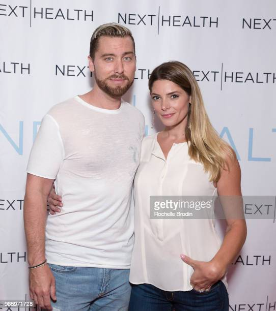 Lance Bass and Ashley Greene attend the Next Health Grand Opening at the Westfield Century City on June 6 2018 in Los Angeles California