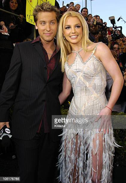 Lance Bass and Britney Spears during 31st Annual American Music Awards Arrivals at Shrine Auditorium in Los Angeles California United States