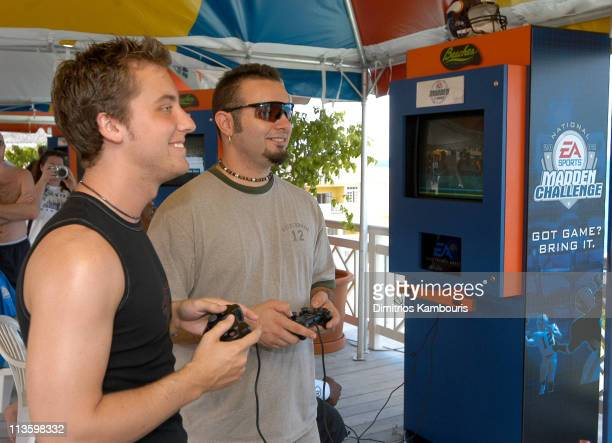 Lance Bass and Chris Kirkpatrick during EA Sports National 2002 Madden Challenge at Beaches Boscobel Resort and Golf Club at Beaches Boscobel Resort...