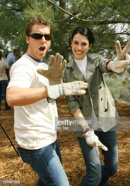 Lance Bass and Christy Carlson Romano during EMA and E! Entertainment Television Tree Planting Event - April 4, 2007 at Tree People's Headquarters in...