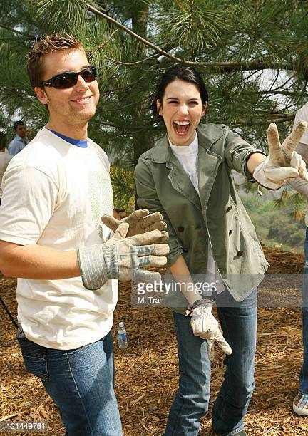 Lance Bass and Christy Carlson Romano during EMA and E Entertainment Television Tree Planting Event April 4 2007 at Tree People's Headquarters in...