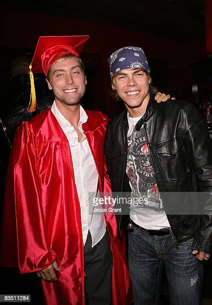 Lance Bass and Derek Hough attend Kim Kardashian's Halloween party hosted by PAMA at Stone Rose on October 30, 2008 in Los Angeles, California.