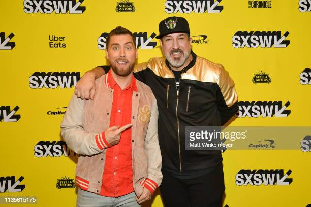 Lance Bass and Joey Fatone attend the The Boy Band Con The Lou Pearlman Story Premiere 2019 SXSW Conference and Festivals at Paramount Theatre on...