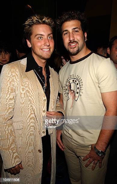 Lance Bass and Joey Fatone of NSYNC during Miramax 'On The Line' premiere party at Planet Hollywood at Planet Hollywood in New York City New York...