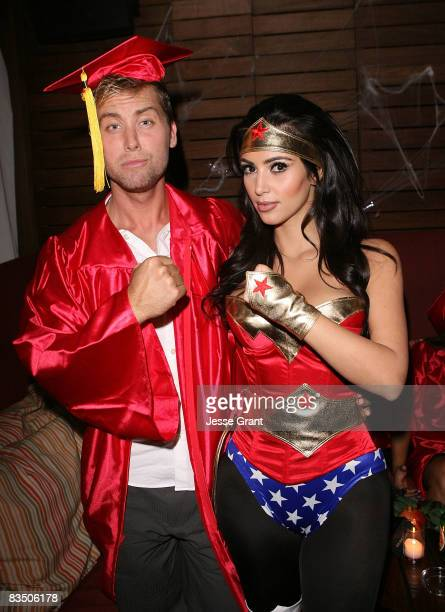 Lance Bass and Kim Kardashian attend Kim Kardashian's Halloween party hosted by PAMA at Stone Rose on October 30, 2008 in Los Angeles, California.