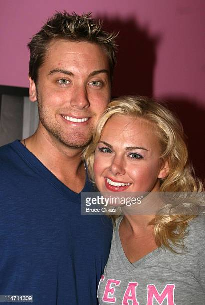 Lance Bass and Laura Bell Bundy during Lance Bass Visits Legally Blonde on Broadway at The Palace Theater in New York City New York United States