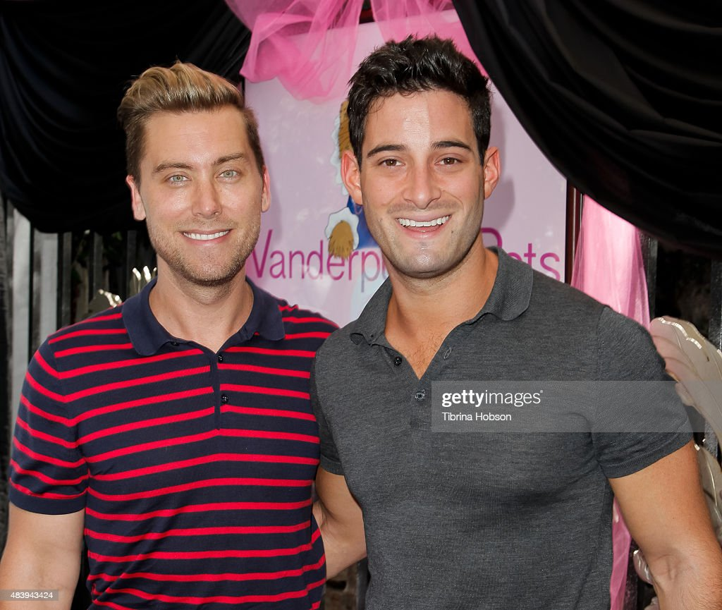 Lance Bass and Michael Turchin attend Lisa Vanderpump's luncheon benefitting the American Humane Association and the Hero Dog Awards at Pump on August 13, 2015 in West Hollywood, California.