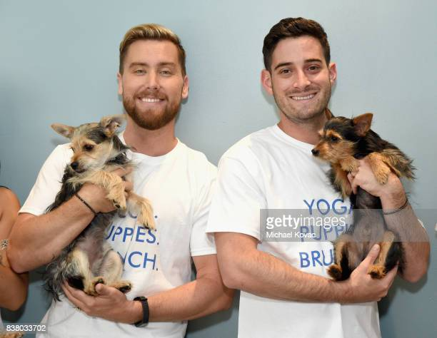 Lance Bass and Michael Turchin with their dogs Chip and Dale at Natural Balance Pet Foods announce new formula with Lance Bass and Downward Dogs...