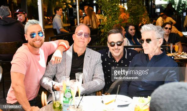 Lance Bass, David Cooley, David Furnish, and Calvin Klein attend The Abbey 30th Anniversary Ceremony at The Abbey on May 23, 2021 in West Hollywood,...