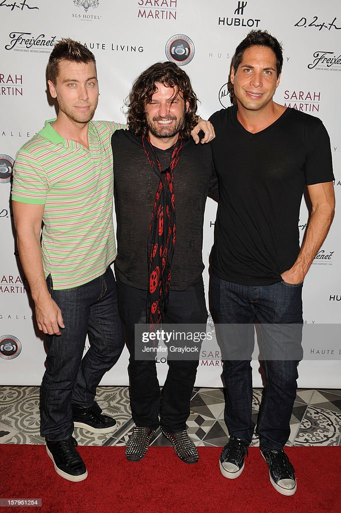 Lance Bass, Domingo Zapata and Joe Francis attend the Domingo Zapata Installation at The W hosted by Haute Living and Hublot at SLS South Beach on December 7, 2012 in Miami, United States.