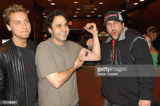 Lance Bass George Maloof and Joey Fatone during Hart And Huntington Tattoo Company Grand Opening at The Palms Casino Resort at The Palms Casino...