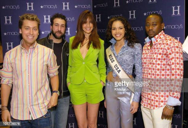 Lance Bass Joey Fatone Carol Alt Miss USA Susie Castillo and Omar Epps wearing H Hilfiger Spring 2004