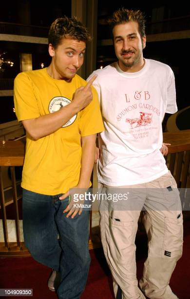 Lance Bass Joey Fatone during *NSYNC Tapes MTV's 'TRL's' New Season Opener September 4 2001 at The Metropolitan Opera House in New York City New York...