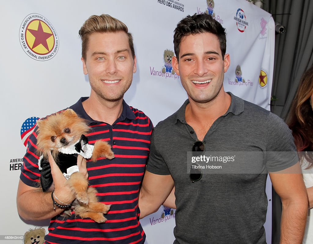 Lance Bass, Michael Turchin and dog Daddy attend Lisa Vanderpump's luncheon benefitting the American Humane Association and the Hero Dog Awards at Pump on August 13, 2015 in West Hollywood, California.