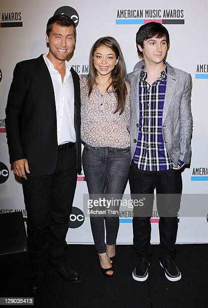 Lance Bass Mitchel Musso and Sarah Hyland attend the 2011 American Music Awards nominations press conference held at the JW Marriott Los Angeles at...