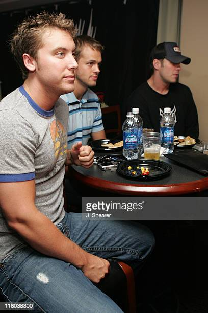 Lance Bass of NSync guest and Blake Mitchell during Celebrities at WWE WrestleMania 21 WrestleMania Goes Hollywood at Staples Center in Los Angeles...