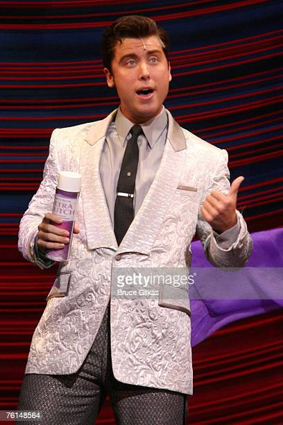 """Lance Bass plays """"Corney Collins"""" during his opening night performance in """"Hairspray"""" on Broadway August 16, 2007 at The Neil Simon Theater in New..."""