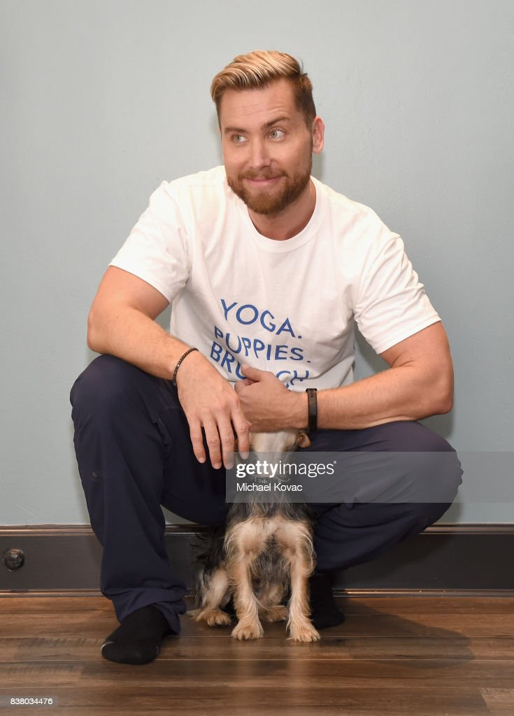 Lance Bass with his dog Chip at Natural Balance Pet Foods announce new formula with Lance Bass and Downward Dogs - Literally - at The DEN Meditation on August 23, 2017 in Los Angeles, California.