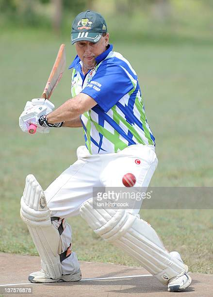 Lance Birkett from the team 'Quinton Paper Shop XI' bats during the 2012 Goldfield Ashes cricket competition on January 22 2012 in Charters Towers...