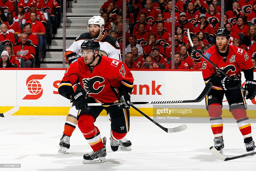 Lance Bouma #17 of the Calgary Flames skates against Patrick Maroon #19 of the Anaheim Ducks at Scotiabank Saddledome for Game Four of the Western Quarterfinals during the 2015 NHL Stanley Cup Playoffs on May 8, 2015 in Calgary, Alberta, Canada.
