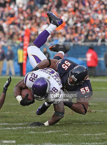 Lance Briggs of the Chicago Bears brings down Adrian Peterson of the Minnesota Vikings at Soldier Field on November 25, 2012 in Chicago, Illinois....
