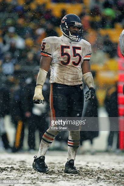 Lance Briggs of the Chicago Bears stands on the field during the NFL game with the Pittsburgh Steelers on December 11, 2005 at Heinz Field in...