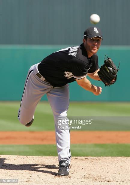 Lance Broadway of the Chicago White Sox pitches during a Spring Training game against the Los Angeles Angels of Anaheim at Tempe Diablo Stadium on...