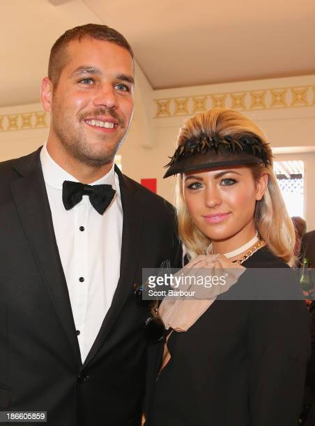 Lance 'Buddy' Franklin and Jesinta Campbell attend the Emirates marquee on Victoria Derby Day at Flemington Racecourse on November 2 2013 in...