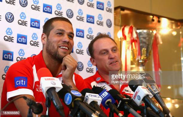 Lance 'Buddy' Franklin and John Longmire coach of the Swans speak to the media during a Sydney Swans AFL press conference at Sydney Cricket Ground on...