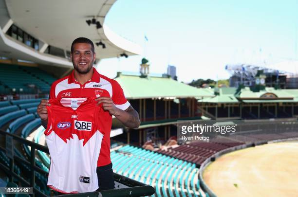 Lance 'Buddy' Franklin poses after speaking to the media during a Sydney Swans AFL press conference at Sydney Cricket Ground on October 9 2013 in...