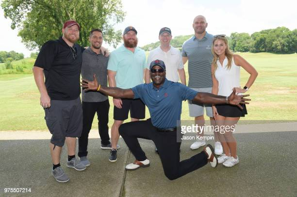 Lance Carpenter Kyle Strongin Scott Wells Kevin Carter Brian Parker Michael Roos and Jillian Cardarelli attend the 7th Annual Drive 4 Dinger...