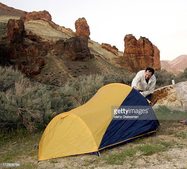 Lance Coleman sets up his tent in Leslie Gulch during a campout this spring