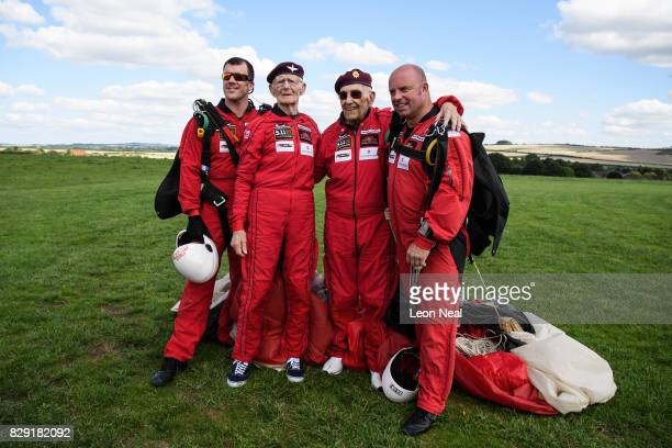 Lance Corporal Lee Crudgington , former paratrooper Fred Glover , former paratrooper Ted Pieri and Cpl Tom Blakey pose for a photograph after...