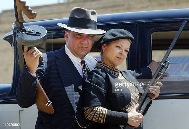 Lance Cryan playing Cyde Barrow left and Michelle Groves playing his sidekick Bonnie Parker during this year's Bonnie Clyde Festival on Saturday May...