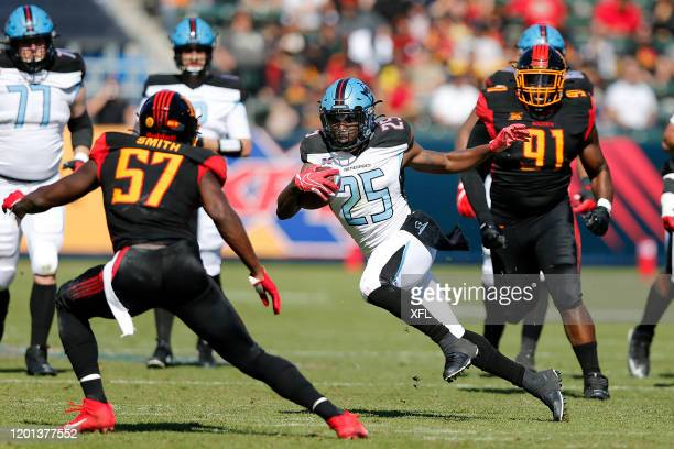 Lance Dunbar of the Dallas Renegades runs for yardage against the LA Wildcats during their XFL game at Dignity Health Sports Park on February 16,...