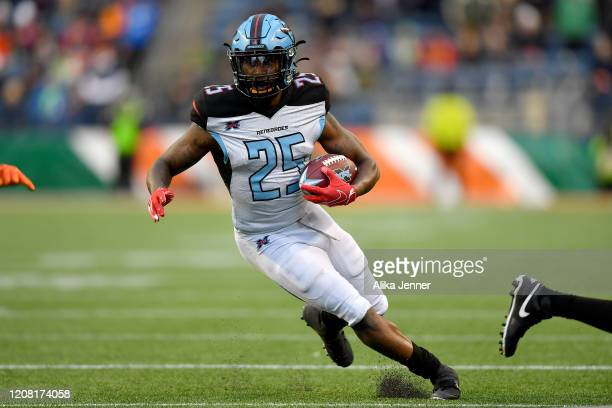 Lance Dunbar of the Dallas Renegades runs the ball during the fourth quarter of the game against the Seattle Dragons at CenturyLink Field on February...