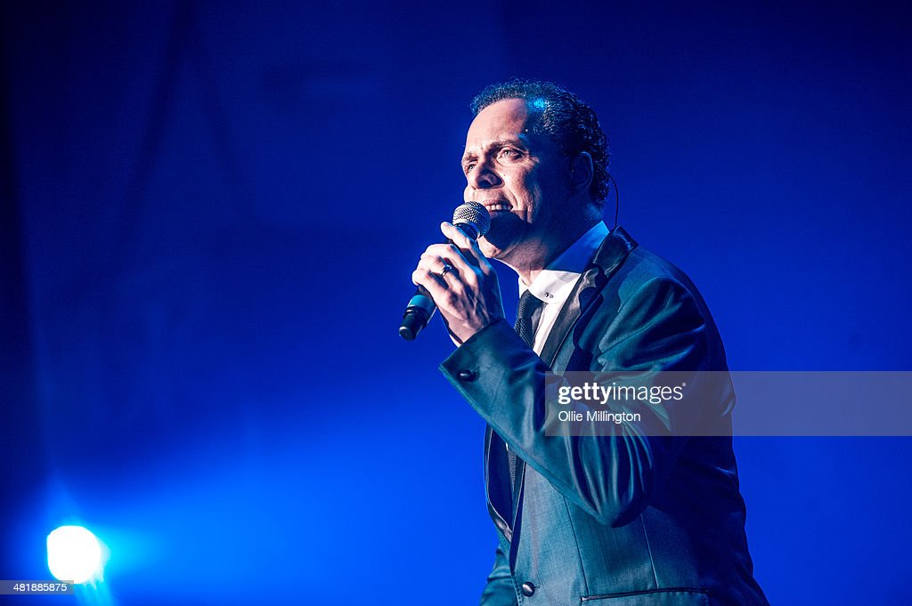 Lance Ellington the voice of The BBCs Celebrity Come Dancing TV show performs onstage supporting Susan Boyle on her birthday at De Montfort Hall And Gardens on April 1, 2014 in Leicester, England.