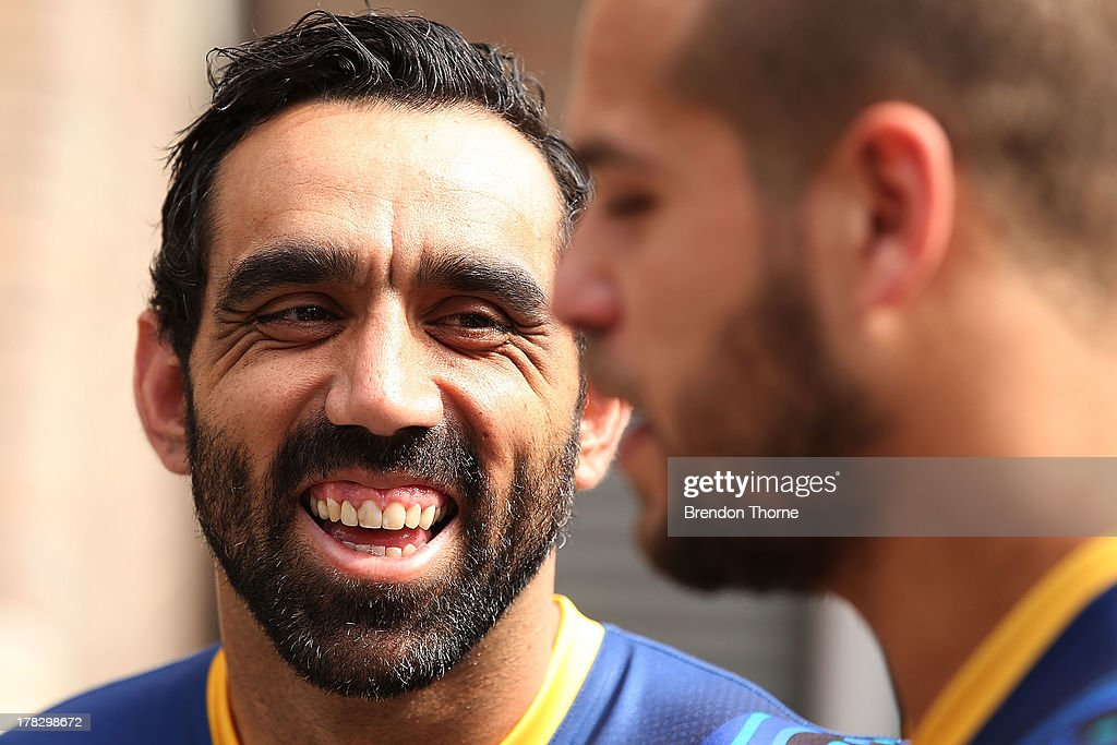 Lance Franklin and Adam Goodes share a joke following the AFL Indigenous Australian Rules Squad announcement at the National Centre for Indigenous Excellence on August 29, 2013 in Sydney, Australia.