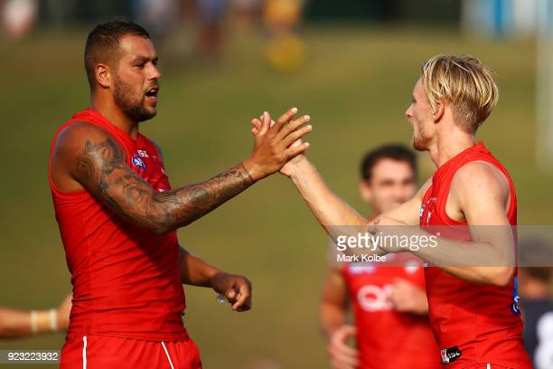 Lance Franklin and James Rose of the Swans celebrate a goal during the AFL Inter Club match between the Sydney Swans and the Greater Western Sydney...