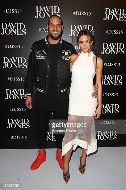 Lance Franklin and Jesinta Campbell arrive ahead of the David Jones Spring/Summer 2015 Fashion Launch at David Jones Elizabeth Street Store on August...